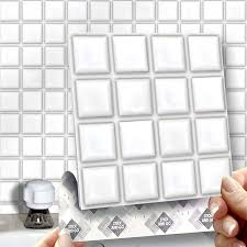 8 white mosaic effect wall tiles 2mm thick and solid self