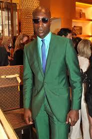 dermot o u0027leary wearing green suit mint dress shirt blue check