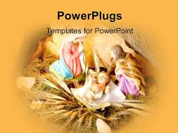 powerpoint template depiction of christmas with baby jesus in