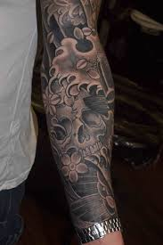 by fil wood skull and cherry blossom with koi japanese