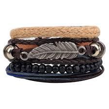 stainless steel cuff bangle bracelet images New men 39 s braided leather stainless steel cuff bangle bracelet jpg