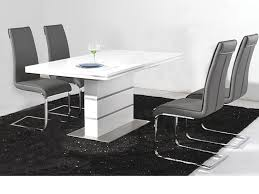 Black Gloss Dining Room Furniture White High Gloss Dining Table And 4 Black Chairs Set Homegeines