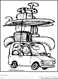vacation coloring pages packing the car ginormasource kids