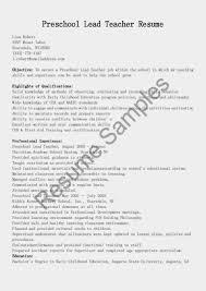 Nursery Teacher Resume Sample Resume Samples Lead Preschool Teacher Resume Sample Resume