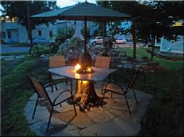 Patio Table With Built In Fire Pit - how to make a wood table into an outdoor fire pit with glassel