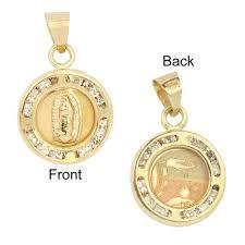 baptism necklace 14k yellow gold mini laser reversible
