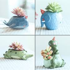 set of 4 cute animal resin succulent pots mybageecha