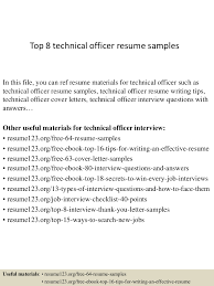 Resume Samples Technical Jobs by Top8technicalofficerresumesamples 150408081315 Conversion Gate01 Thumbnail 4 Jpg Cb U003d1428498846