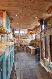 trailer homes interior this old horse trailer was converted into a cozy and rustic tiny house