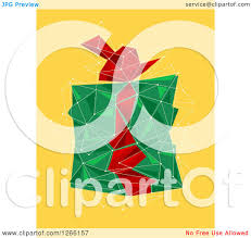 clipart of a green and red geometric christmas gift on yellow