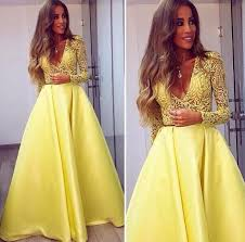 2016 muslim long sleeve prom dress yellow v neck lace top satin
