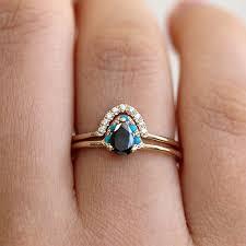 teardrop engagement rings black pear engagement set black diamond engagement ring artemer