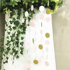 pink white gold wedding 10ft glitter bunting banner pink white gold circle polka dots