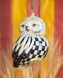 mackenzie childs courtly check snowy owl ornament
