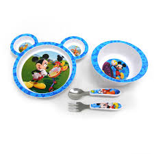 Dining Steel Plate Set Mickey Mouse 4 Piece Feeding Set Disney Baby