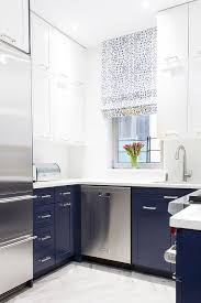 White Blue Kitchen White And Blue Kitchen Features White Upper Cabinets And Blue