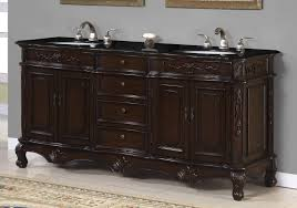 rustic bathroom vanities with tops black granite double white sink
