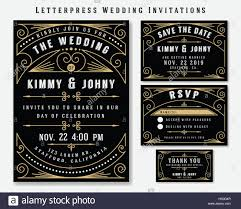 wedding invitation rsvp date art deco letterpress wedding invitation design template include