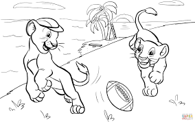 lions cubs playing american football coloring page free
