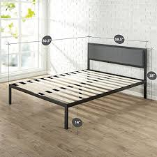 Metal Bed Frame Cover Zinus 14 Inch Platform Metal Bed Frame With Upholstered Headboard