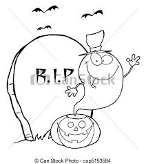 eps vector halloween ghost coloring outline