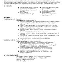 Resume For Babysitting Examples by Download Babysitting Resume Haadyaooverbayresort Com