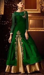 emerald green silk lehenga style indian dress suit