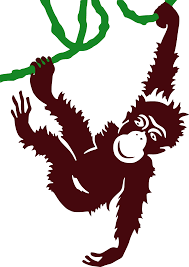 clipart hanging monkey