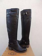 s ugg black leather ugg bess the knee black leather sheepskin buckle boots us 9