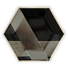 wedding party plates black and gold hexagon deco themed wedding party plates pack
