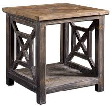 distressed wood end table this side table from uttermost is made from solid reclaimed fir