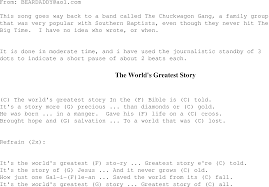 the world u0027s greatest story christian gospel song lyrics and chords