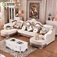European Living Room Furniture European Style Antique Carved Wooden Fabric Living Room