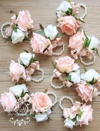 bridesmaid corsage blush pink wrist corsage bridesmaid by misshanafloraldesign