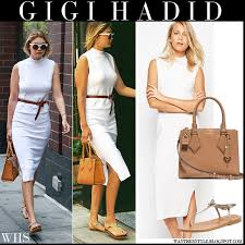 Gigi Hadid In White Midi Tank Dress From Asos With Brown Tote In
