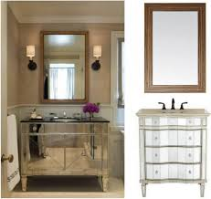 elegant mirror bathroom vanity with sink stainless steel faucets