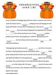 thanksgiving mad libs thanksgiving and