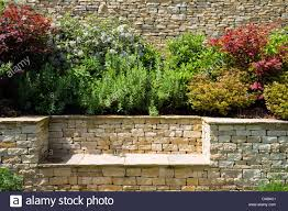 Bench Built Into Wall Drystone Wall Seat Bench Stock Photos U0026 Drystone Wall Seat Bench