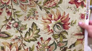 millcreek green and red on beige jacobean floral 54