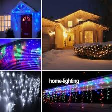 snowing icicle outdoor lights waterproof 5m 30m led snowing icicle fairy lights curtain christmas