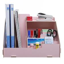 Desk Organizer Box In One Pink Wood Desktop Office Supplies Organizer Magazine