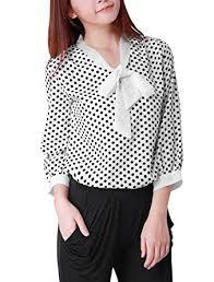 White Blouse With Black Bow Allegra K Woman 3 4 Sleeves Tie Bow Neck Polka Dots Prints Blouse