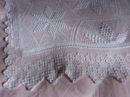 antique hand crocheted bedspread afghan blanket handmade french