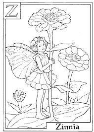 letter z for zinnia flower fairy coloring page alphabet coloring