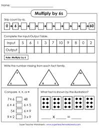 worksheets multiplying by 6
