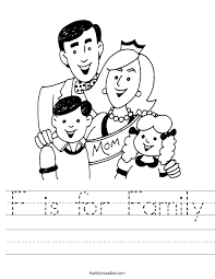 f is for family worksheet twisty noodle