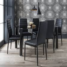 black glass dining table set u0026 6 faux leather chairs laura james