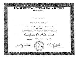 Construction Estimating Certification references tom simmons inc