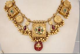 gold antique necklace sets images Designer gold and diamond jewellery indian jpg