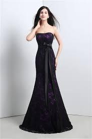 mermaid strapless corset purple satin black lace evening prom